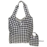 BLACK WHITE HOUNDSTOOTH - Handybag Folding Shopping Bag